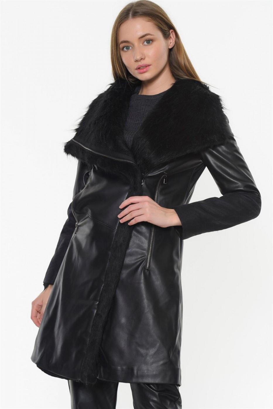 Z6614 DEWBERRY WOMEN FURRY LEATHER COAT-BLACK