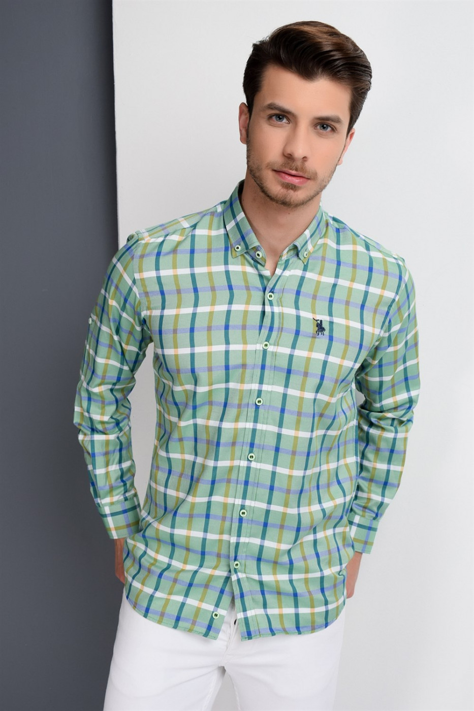 G664 DEWBERRY MEN's SHIRT-GREEN