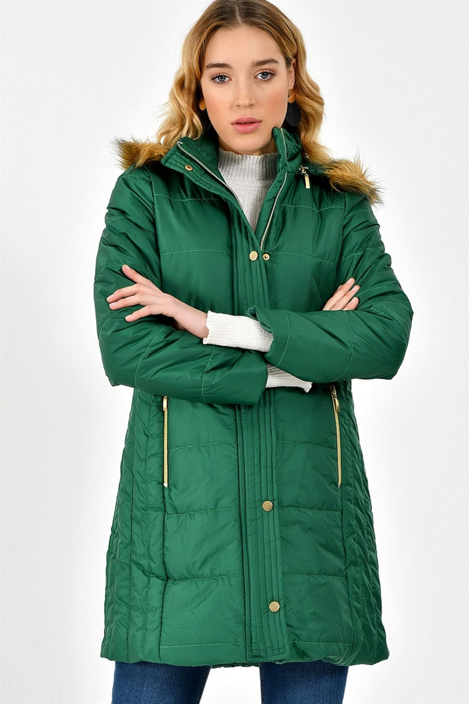 Z6434 DEWBERRY WOMEN'S COAT-ON GREEN