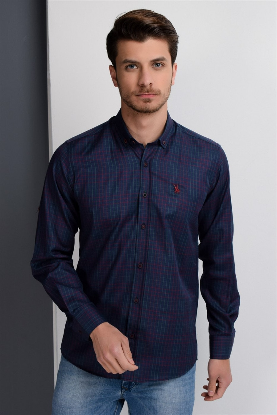 G650 DEWBERRY MEN's SHIRT-LACİVERT- BURGUNDY