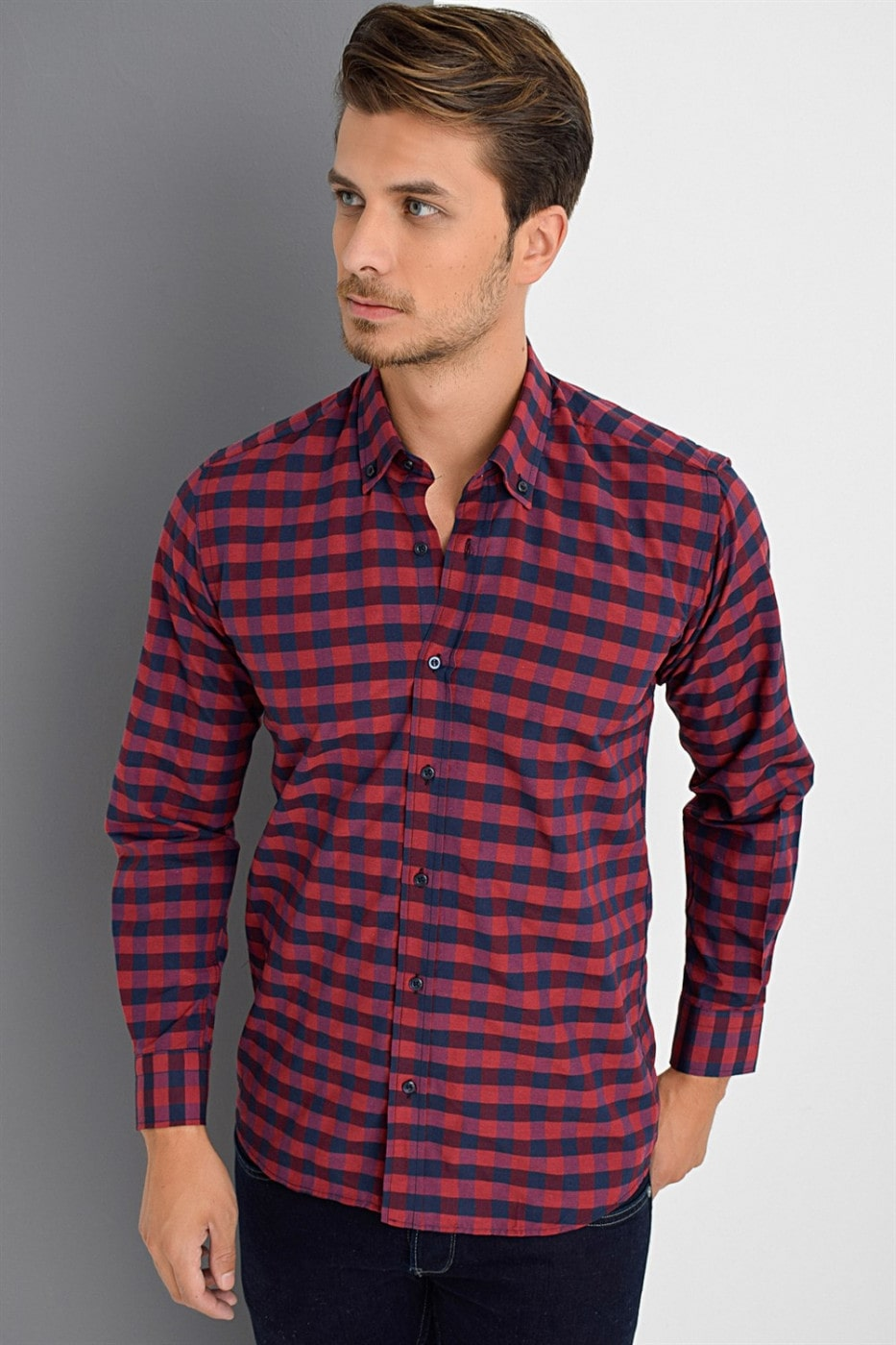 G629 DEWBERRY SHIRT-BURGUNDY