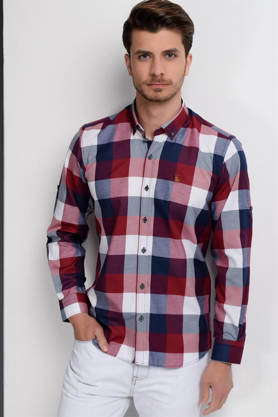 G662 DEWBERRY MEN's SHIRT-LACİVERT- BURGUNDY