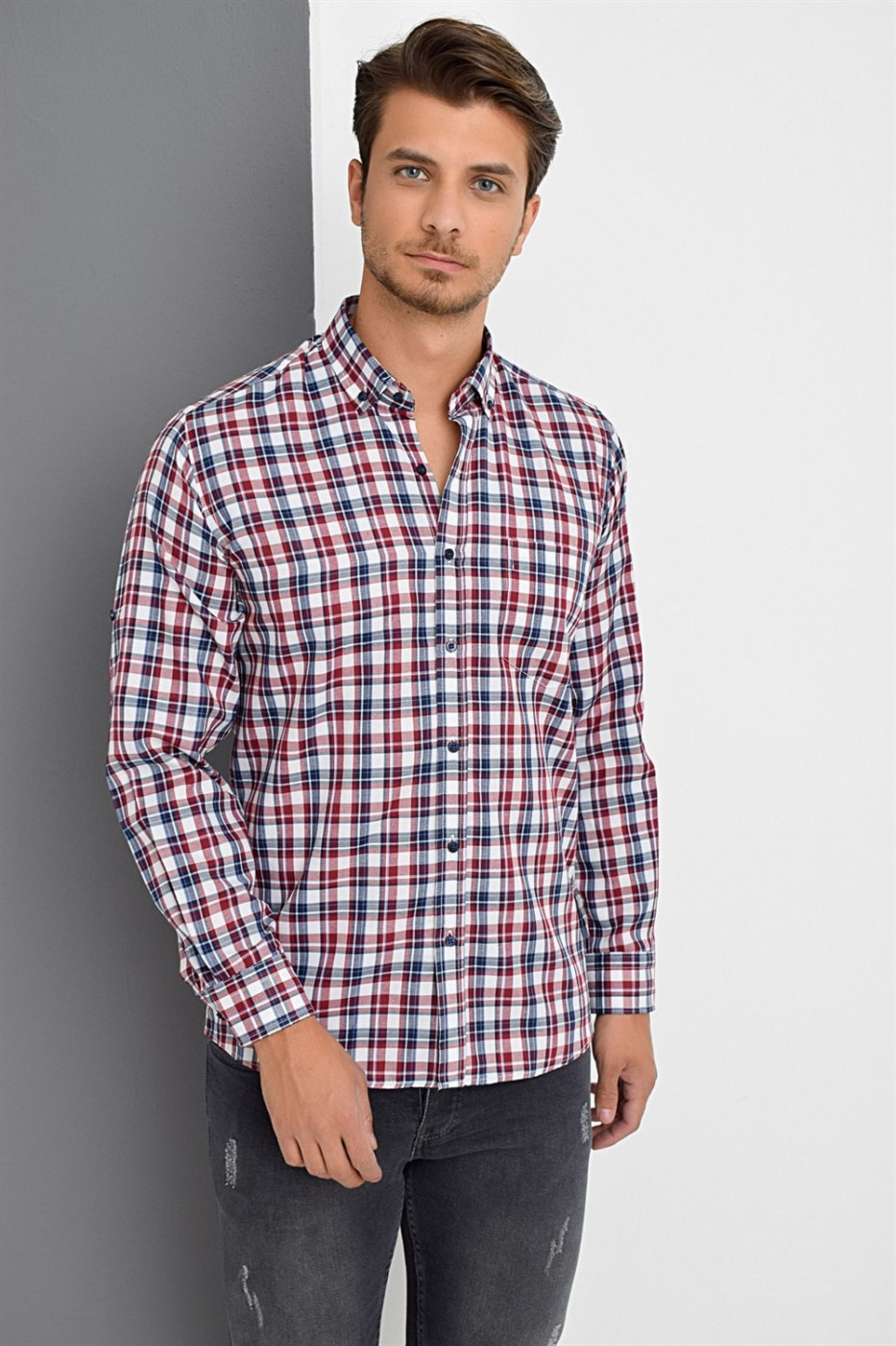 G669 DEWBERRY MEN's SHIRT-BURGUNDY