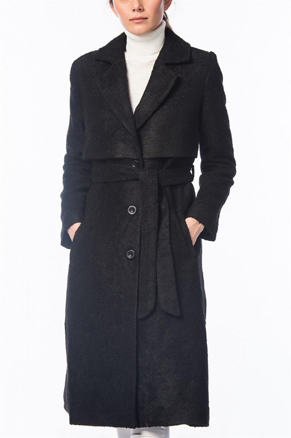 Z6408 DEWBERRY WOMEN's COAT-BLACK