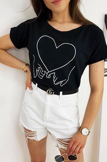 LOVE HAND women's T-shirt black RY1559