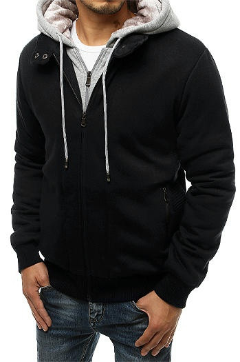 Black men's insulated hoodie BX4718