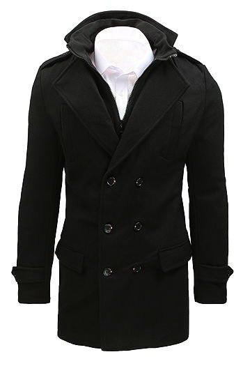 Men's black double-breasted coat CX0392
