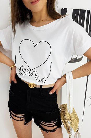 LOVE HAND women's T-shirt white RY1558