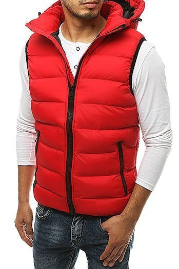 Men's quilted hooded vest red TX3376