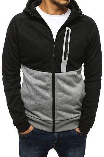 Black men's zipped hoodie BX4139