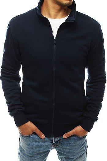 Navy blue men's sweatshirt without a hood BX4567