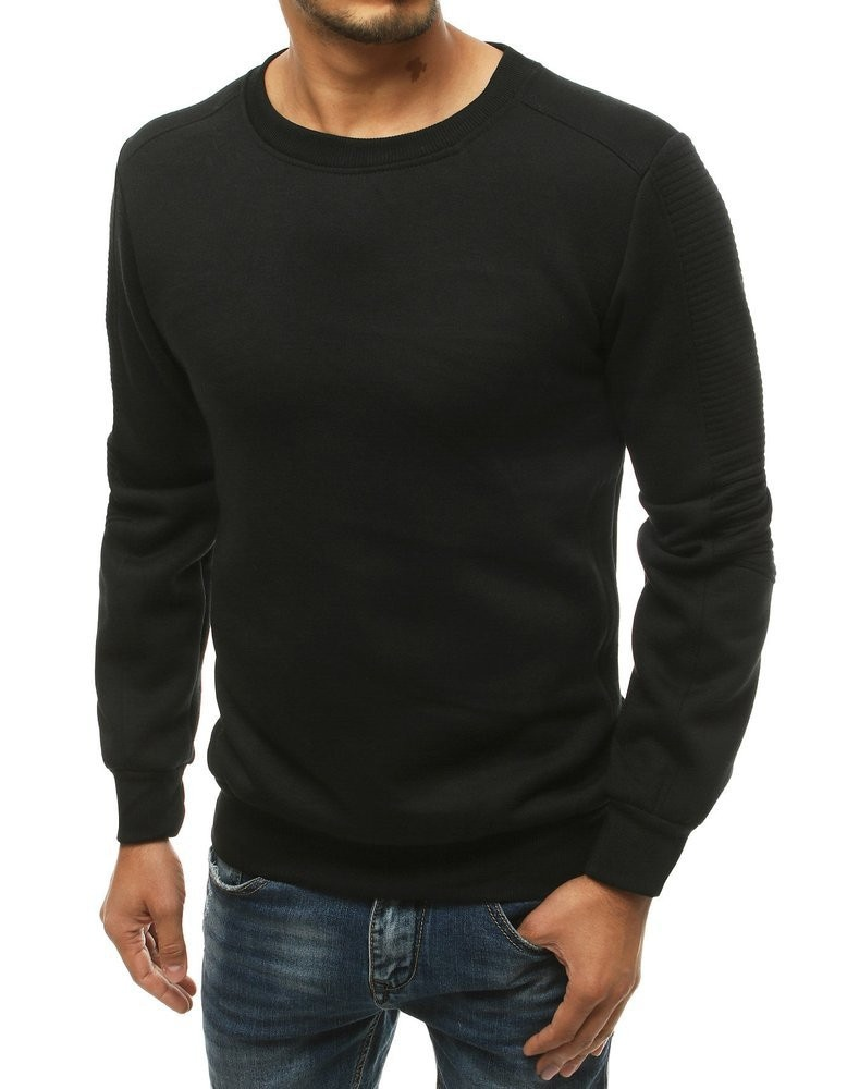 Black men's sweatshirt without hood BX4727