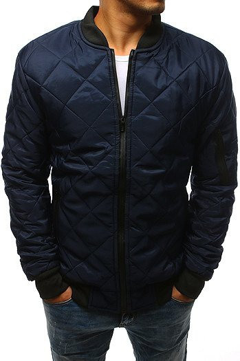 Navy blue men's quilted bomber jacket TX2217