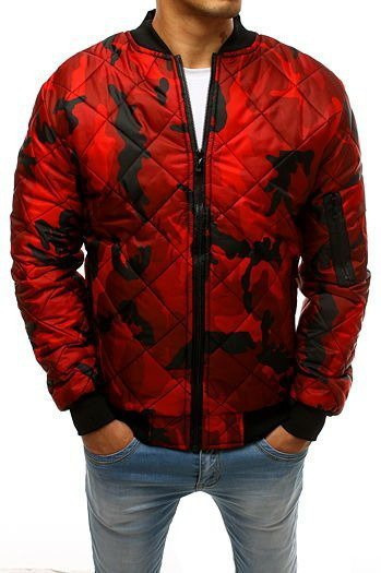 Red men's quilted bomber jacket red TX2686