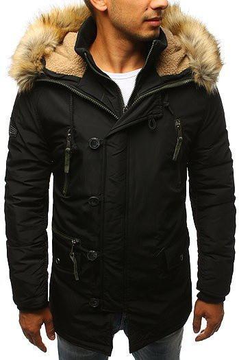 Black men's winter parka jacket TX2993