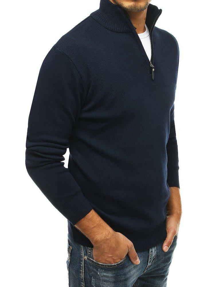 Men's turtleneck sweater, navy blue WX1469