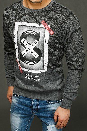 Anthracite men's sweatshirt with print BX4425