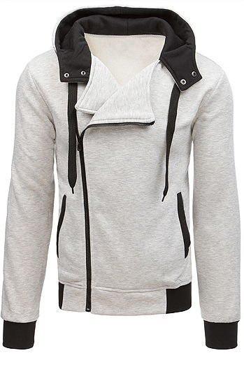 Light gray men's zipped hoodie BX3698