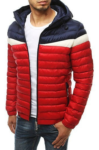 Red men's quilted hooded jacket TX3416