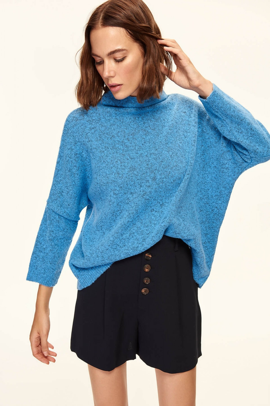 Trendyol Blue Bat Sleeve Knitted Sweater