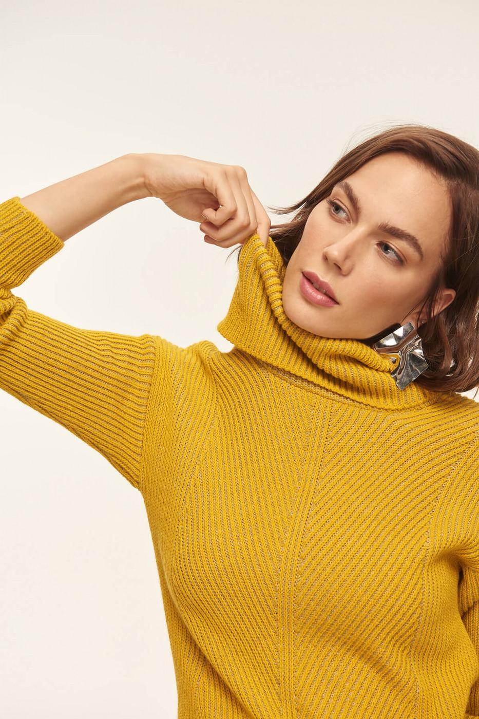 Trendyol Mustard Knit Detail Sweater Sweaters