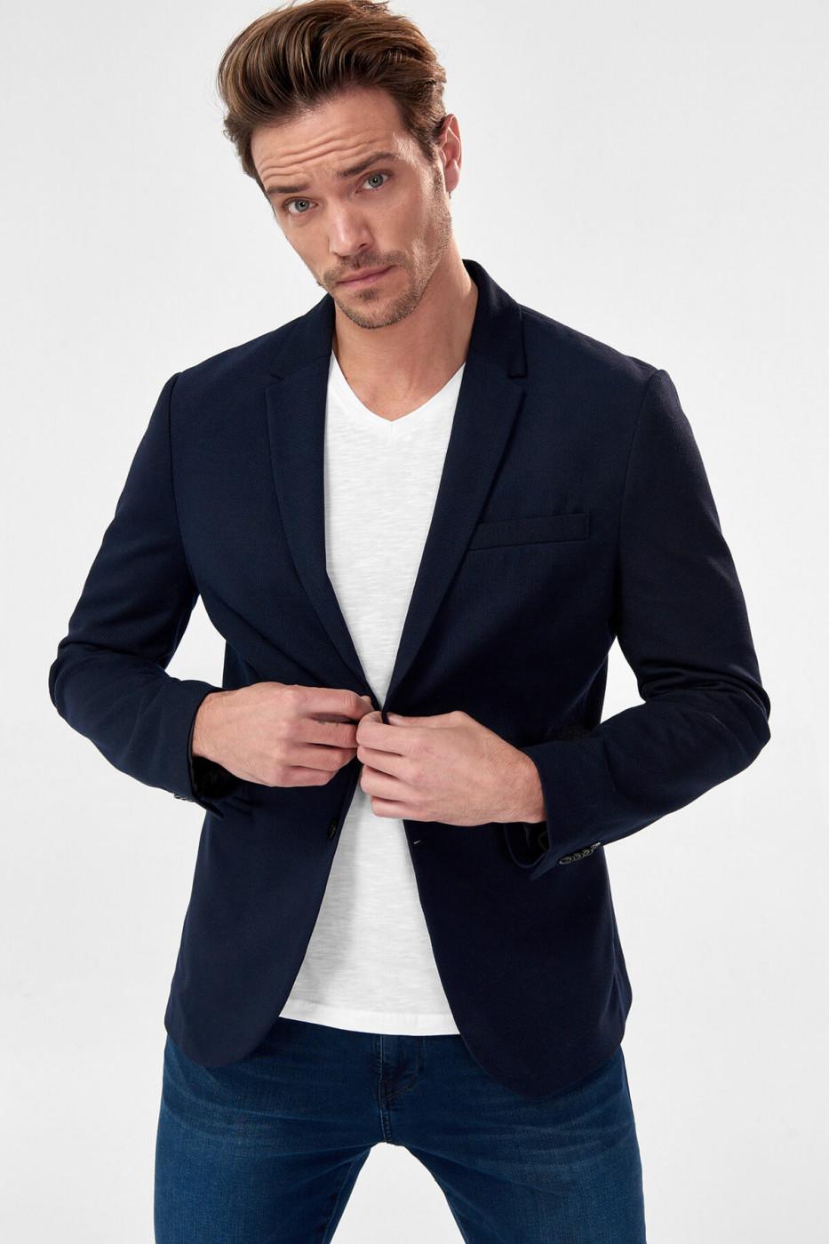 Trendyol Navy Blue Mens Jacket-Pique Fabric