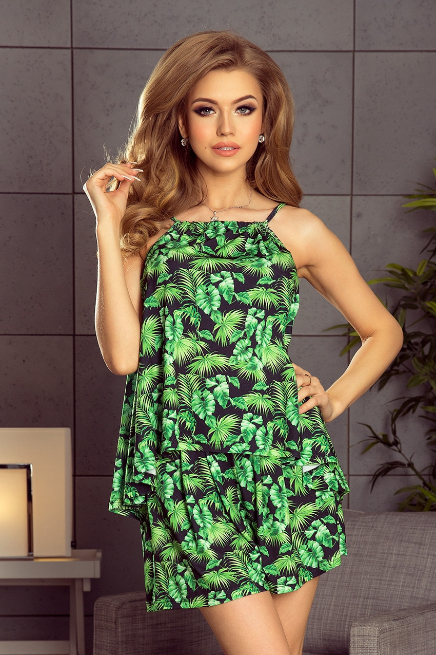 Set - blouse + shorts - green leaves NUMOCO 197