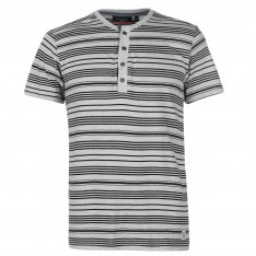 Pierre Cardin Grandad Collar T Shirt Mens