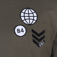 Fabric Long Sleeve Patch Top Mens