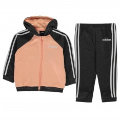 Adidas 3 Stripe Full Zip Hooded Tracksuit Girls