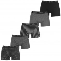 Lee Cooper Hipster Print Trunks 5 Pack Mens