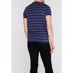 Lee Cooper Stripe Logo T Shirt Mens
