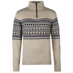 Pierre Cardin Quarter Zip Fair Isle Knit Mens