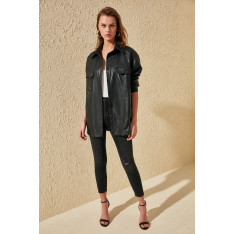 Trendyol Black Artificial Leather Button Off Coat