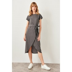 Trendyol Anthracite Binding Detailed Knitting Dress