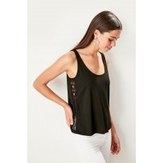 Trendyol Black Lace Detailed Knit Blouse