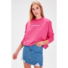 Trendyol Fuchsia Printed Knitted Sweatshirt