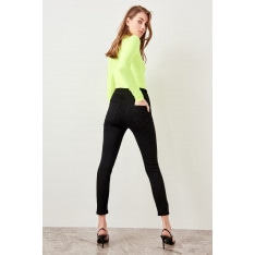 Trendyol Black Front Zip Detailed High Waist Jegging Jeans