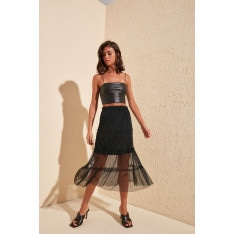 Trendyol Black Tulle Knitted Skirt