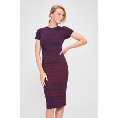 Trendyol Burgundy Multi-Color Short Sleeve Knitwear Dress