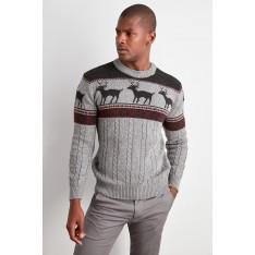 Trendyol Smoked Men's Bicycle Collar Textured Sweater