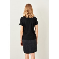 Trendyol Black V neck Cotton Basic t-shirt