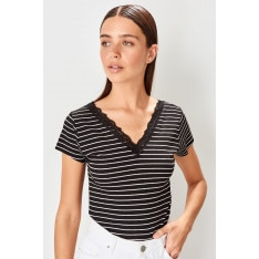 Trendyol Black Lace detailed striped Basic knitted blouse
