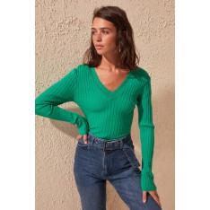 Trendyol Emerald Green Collar Detailed Knitwear Sweater