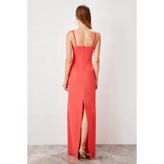 Trendyol Orange collar detailed evening dress