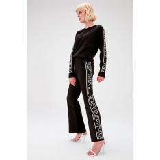 Trendyol Black Side Written Knitwear Pants
