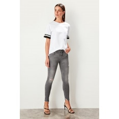 Trendyol Gray High Waist Skinny Jeans Ripped Detail