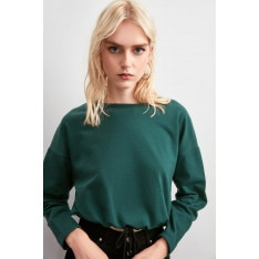 Trendyol Green Binding Detailed Knitted Sweatshirt