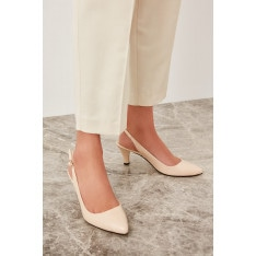 Trendyol Beige Patent Leather Women's Wedge-Heeled Shoes