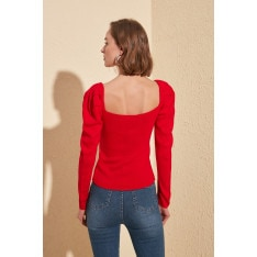 Trendyol Red Pucker Detailed Square Collar Knitwear Sweater